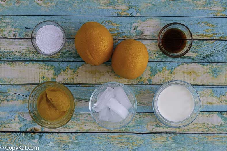 Homemade Orange Julius ingredients