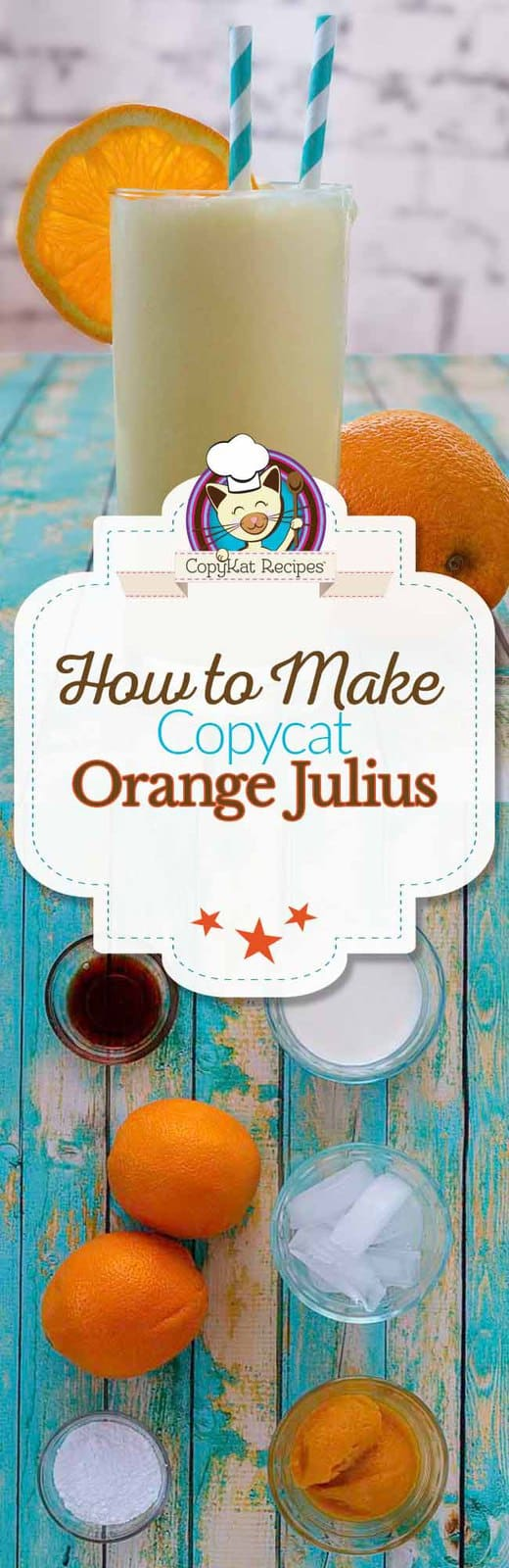 Make your own homemade Orange Julius with this easy copycat recipe. #copycat #recipe #beverage #non-alcoholic #orangejulius #smoothie #easy