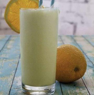 a homemade orange julius in a glass.
