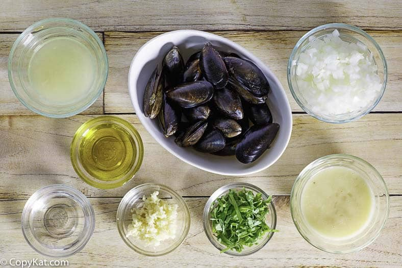 Ingredients for Carrabbas mussels. You can recreate this famous appetizer at home.