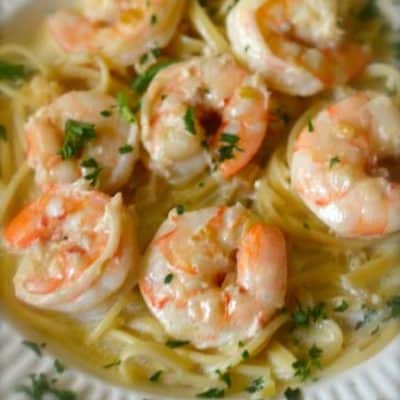 homemade shells shrimp and garlic pasta on a plate.