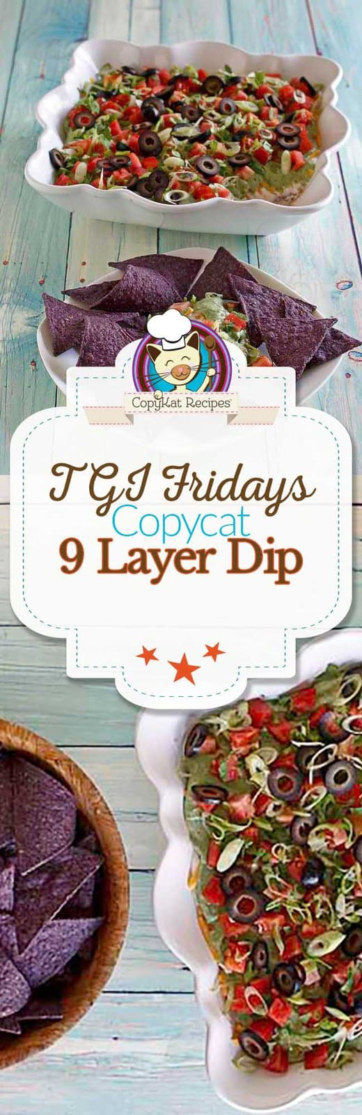 You can recreate the TGI Friday's Nine Layer Dip recipe at home with this easy copycat recipe. It's perfect for your next game night, or to watch your favorite team.