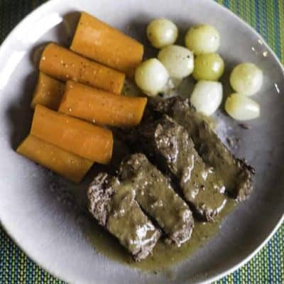 Yankee Pot Roast and Vegetables on a plate.