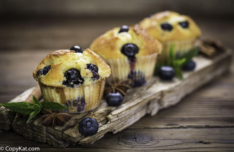 three blueberry muffins