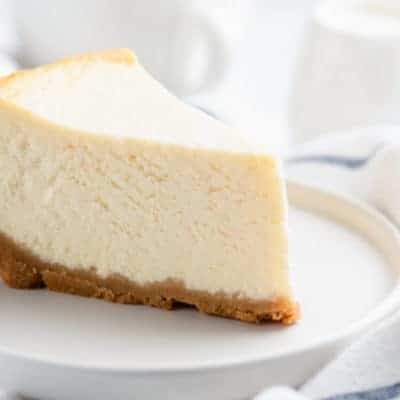 cheesecake slice on a white plate