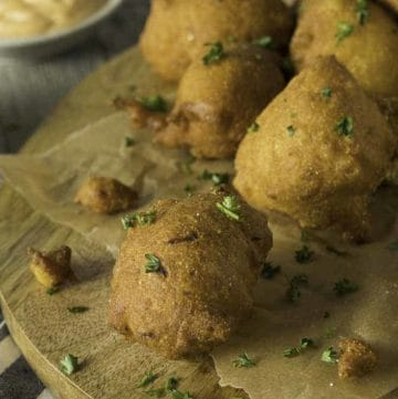 a platter of hush puppies