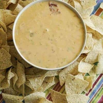 homemade queso made with green chilies, onions, and garlic