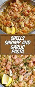Pasta with shrimp and garlic sauce