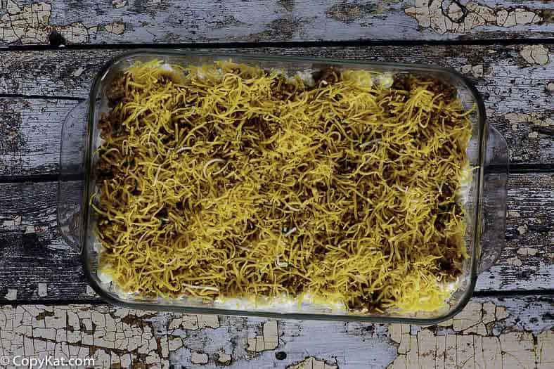 Sour Cream Noodle Bake before it is placed into the oven.