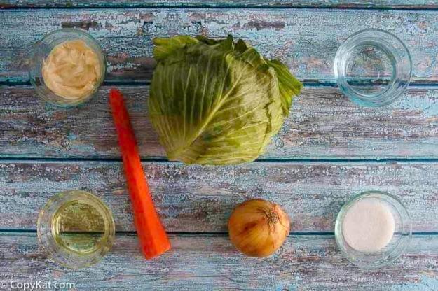 Ingredients for homemade copycat KFC coleslaw recipe.