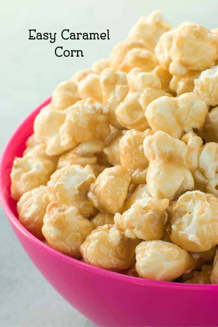 a bowl of caramel popcorn made with Karo syrup