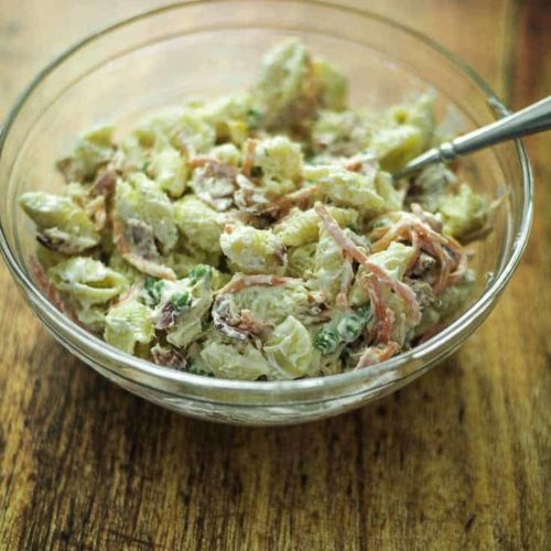 Pasta salad with bacon and ranch salad dressing.