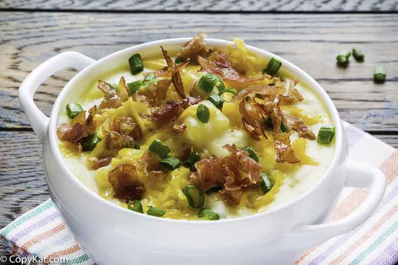 Bowl of Bennigan's Baked Potato Soup.