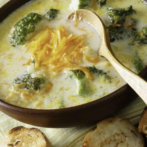 Bowl of Black Eyed Pea Broccoli Cheddar Cheese Soup