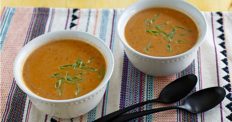 two bowls of homemade Chilis Chicken Enchilada Soup