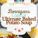 Collage of Bennigan's Ultimate Baked Potato Soup photos