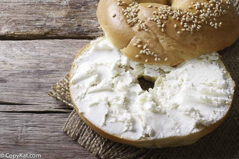 Cream cheese spread from Zabar's on a bagel.