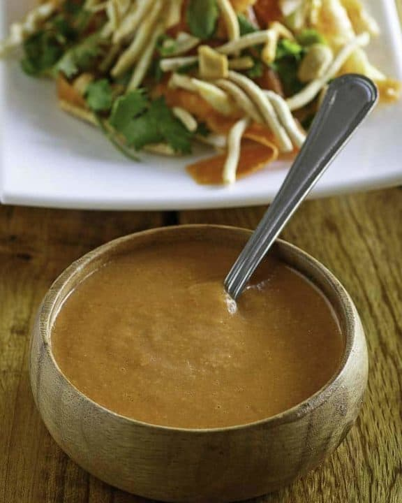 a small bowl of homemade Benihana Ginger Salad Dressing