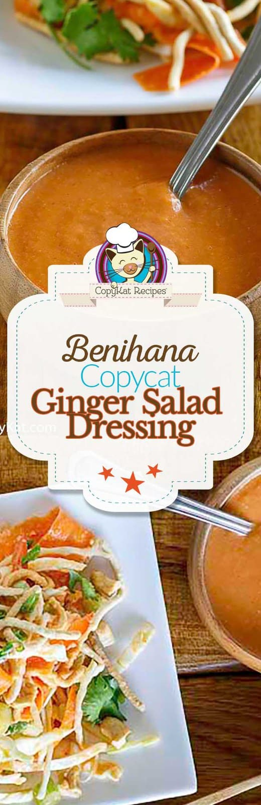 Love Benihana Ginger Salad dressing?  You can make it at home with this easy copycat recipe.   #benihana #ginger #saladdressing #salads