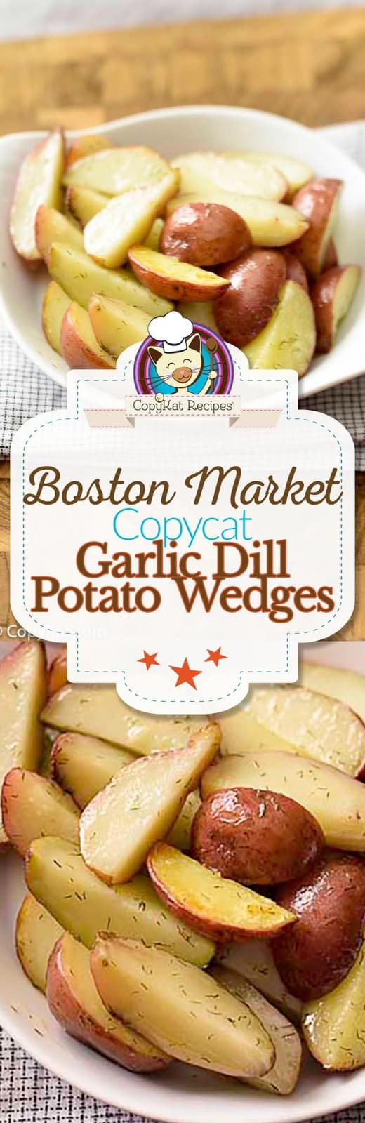 You can make Boston Market Garlic Dill Potato Wedges at home with this easy copycat recipe. #copycat #copycatrecipe #bostonmarket #potato #sidedish #baked #inoven #oven