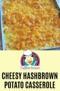Cheesy hashbrown potato casserole in a baking dish