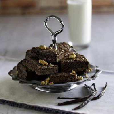 Hershey's chocolate brownies on a serving plate.