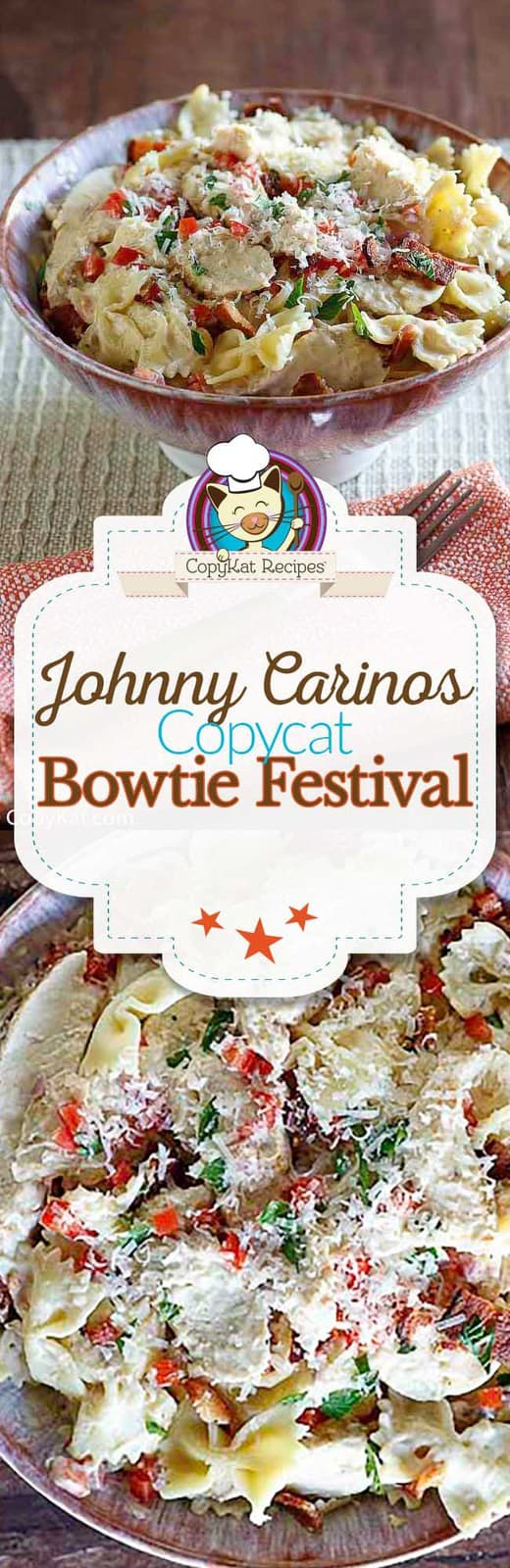 You can recreate Johnny Carinos Bowtie Festival at home.   Fresh tomatoes, crisp bacon, and grilled chicken make for one amazing pasta dish that's perfect for dinner.  #copycat #copycatrecipe #pasta #pastarecipe #grilledchicken