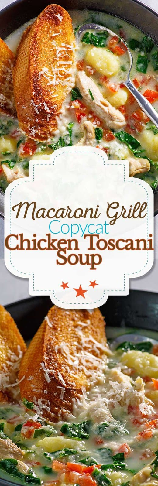 Recreate the Macaroni Grill Toscani Soup at home with this copycat recipe.  #copycat #copycatrecipe #grillechicken #soup #macaronigrill