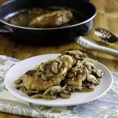 A plate of homemade Olive Garden Chicken Marsala.