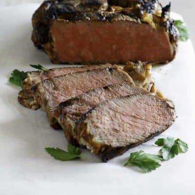 bourbon street steak on a cutting board