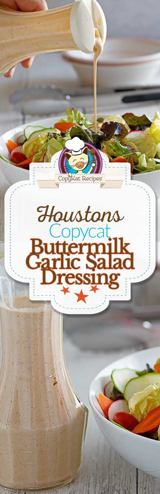 Recreate Houston's Buttermilk Garlic Salad Dressing at home with this copycat recipe. #copycat #salad #saladdressing #Houstons