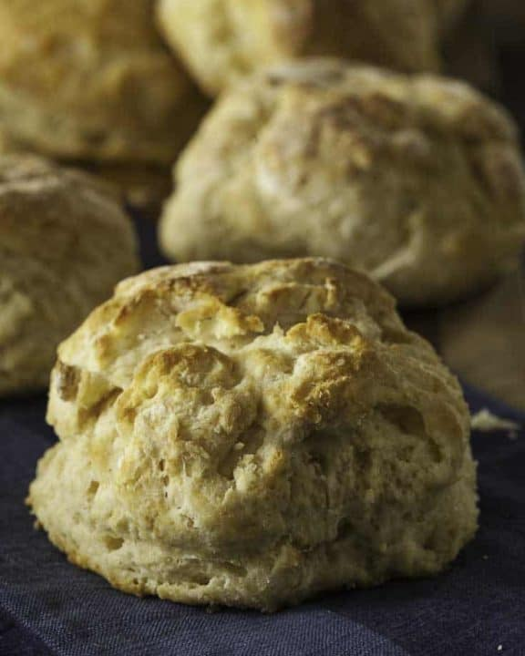 Fresh warm biscuits with browned tops on a towel.