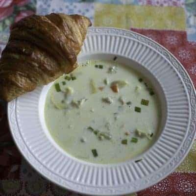 A bowl of cream of artichoke soup