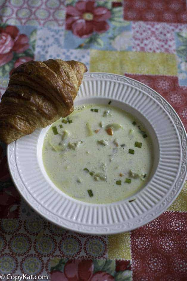 A bowl of cream of artichoke soup