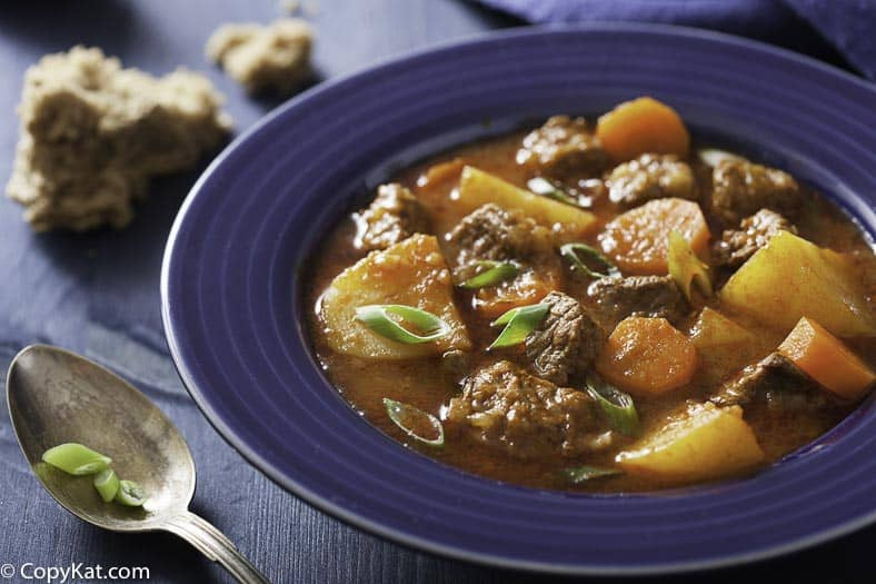 Beef stew made in a slow cooker.