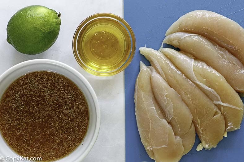 ingredients for cracker barrel grilled chicken tenders , lime, honey, italian dressing, and honey