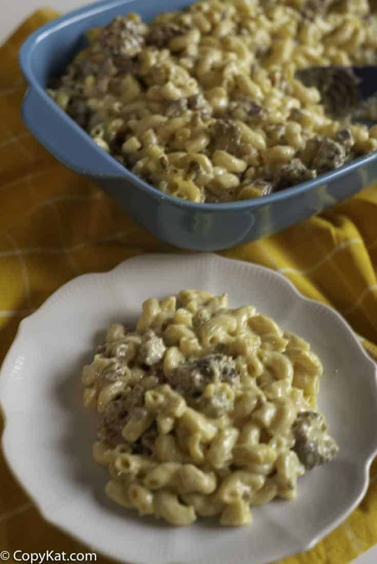 Pasta casserole with sausage and cheese.