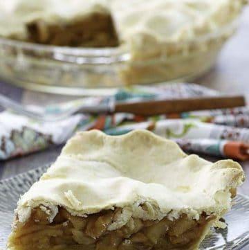 A slice of no sugar added apple pie