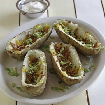 a platter of homemade TGI Friday's baked potato skins