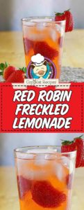 Collage of homemade Red Robin freckled lemonade with strawberries in a glass photos