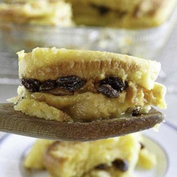 A piece of homemade Raglan Road Bread Pudding with raisins
