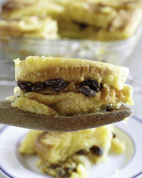 A piece of homemade Raglan Road Bread Pudding with raisins