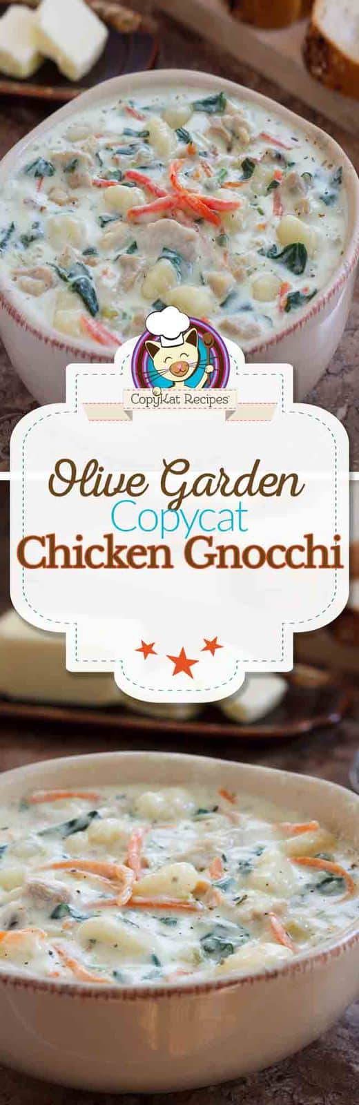 Learn how to make your own homemade copycat version of the Olive Garden Chicken Gnocchi Soup. #soup #copycat #olivegardn #gnocchi #stovetop #easy #recipe