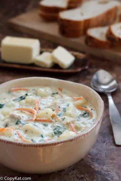 Olive Garden Chicken Gnocchi soup in a bowl