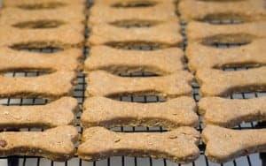 dog bone shaped dog biscuits on a baking rack