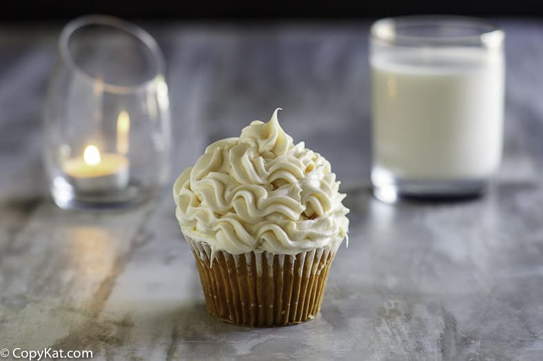 Homemade copycat Publix Buttercream Icing on a cupcake.