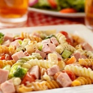 plate of pasta salad
