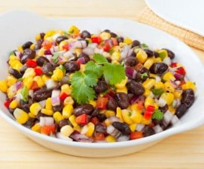 corn and black bean salad in a serving dish