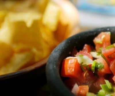 bowl of salsa and tortilla chips