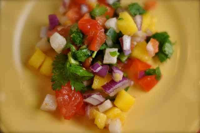 mango salsa on a plate